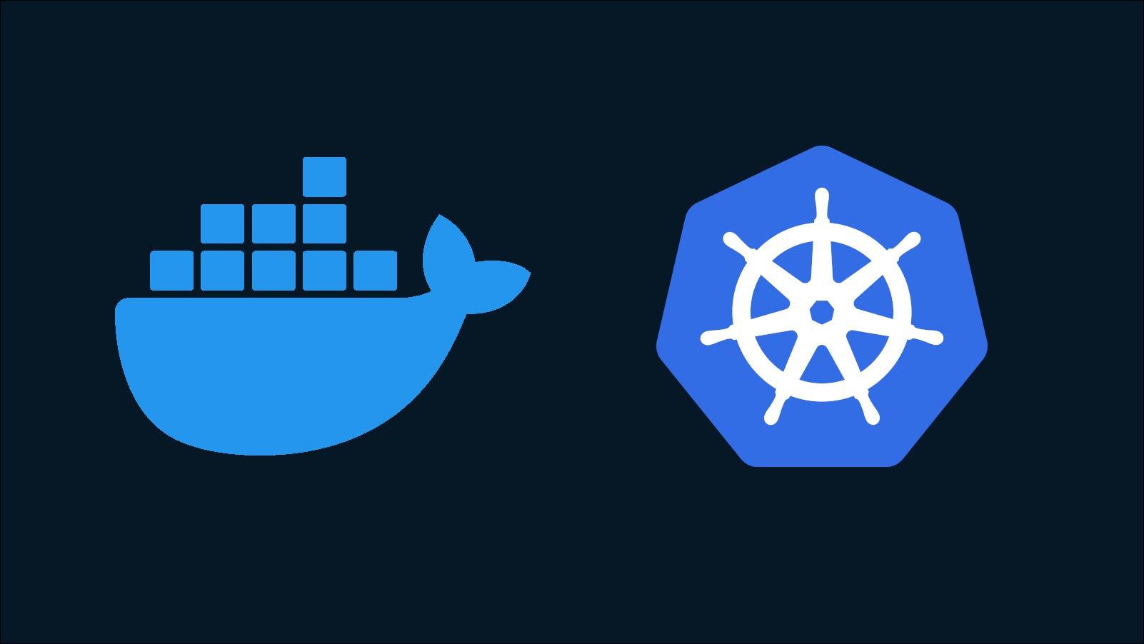 Illustration showing the Docker and Kubernetes logos