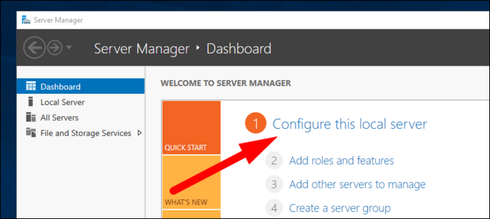 """Click """"Configure this local server"""" in the Server Manager app"""