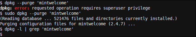 Purging 'mintwelcome' configuration files with dpkg