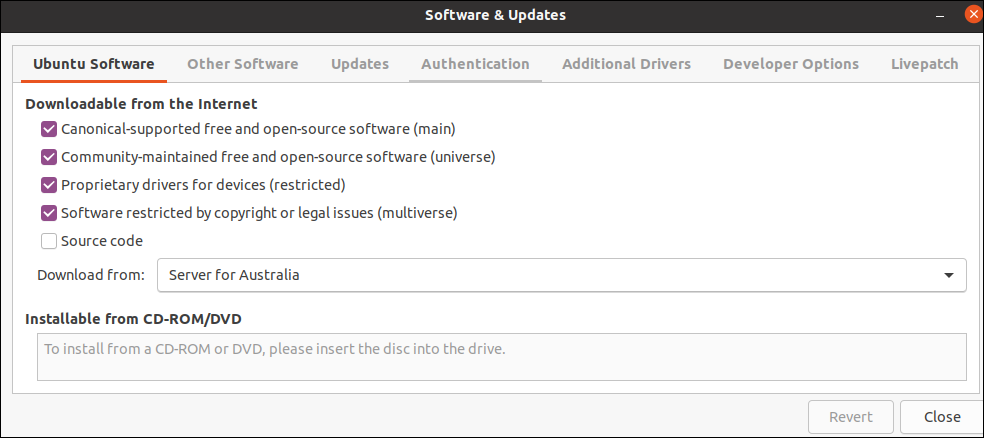 Ubuntu Software & Updates showing the main, universe, restricted and multiverse repositories