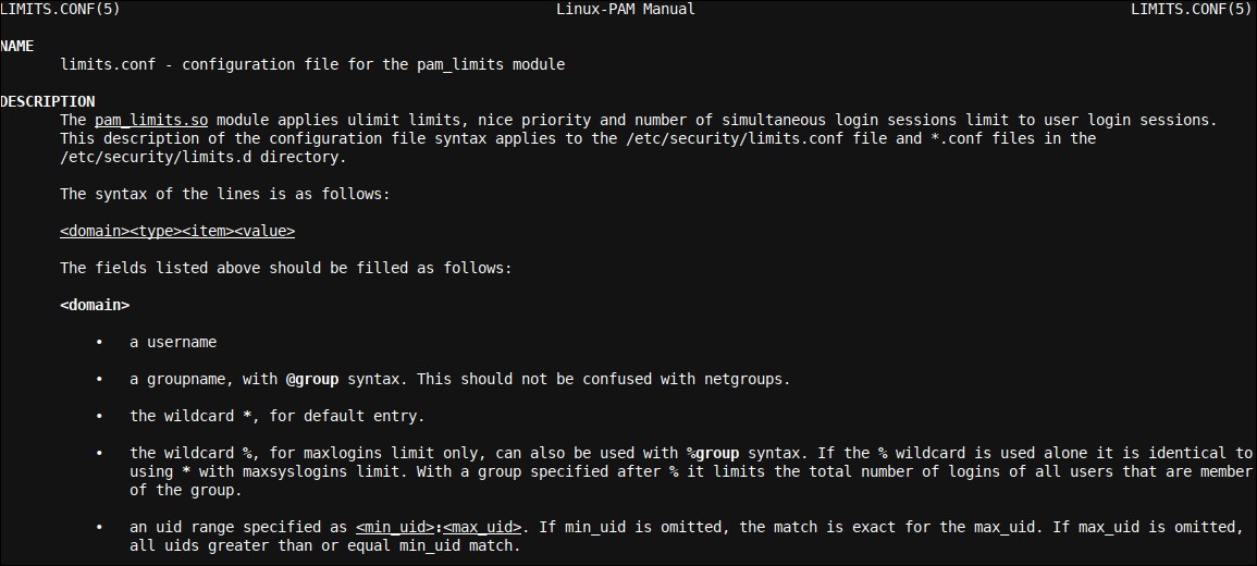 The limits.conf man page provides ample of information on limits.conf syntax, idioms and formatting