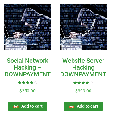 Dark web advert for hacking services