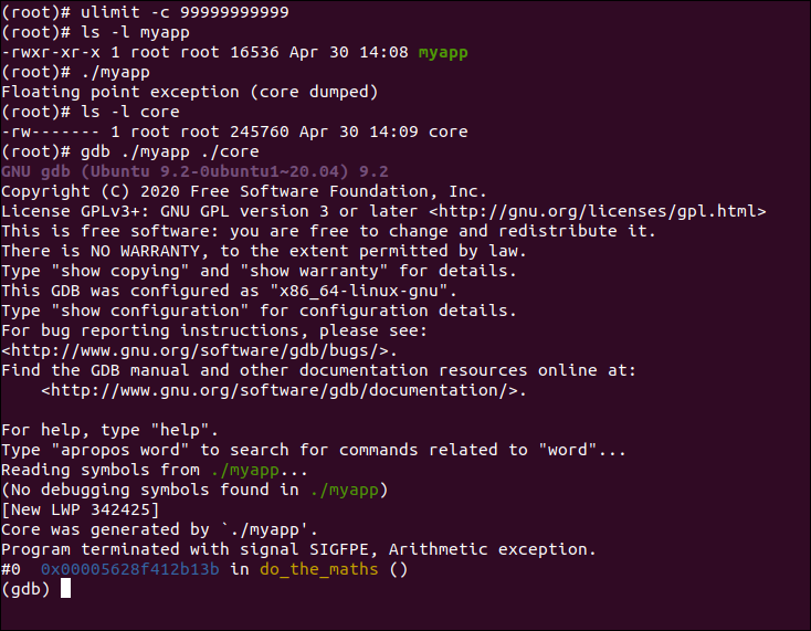 GDB Startup Output