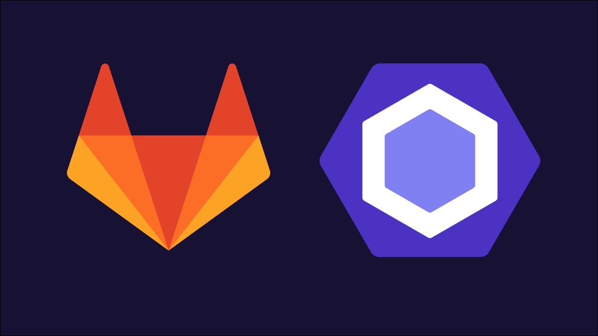 Graphic showing the GitLab and ESLint logos side-by-side