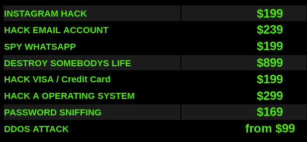 Dark web hacking services price list