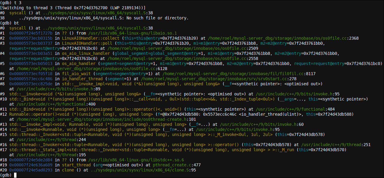 A backtrace of an OS/IO based looping waiting thread