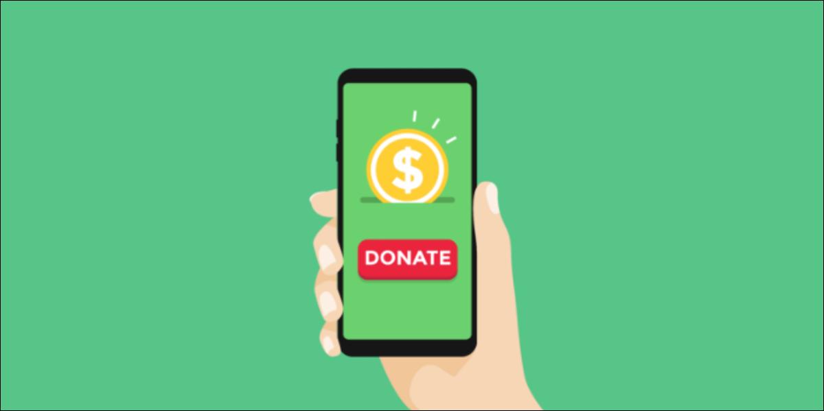 a person donating money through their phone