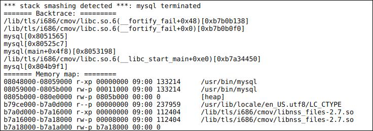 A smashing stack dump generated by mysqld, the MySQL database server