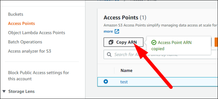 """Enter a name and select a bucket, and make sure to select """"Internet"""" unless this bucket is limited to a single VPC. Once it's created, copy the ARN for the access point."""