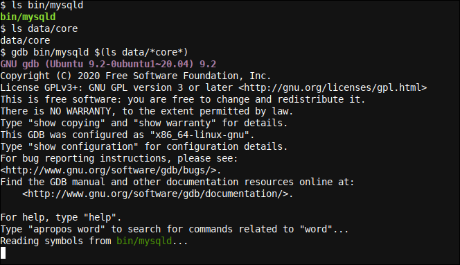 Using GDB to debug a MySQL Server (mysqld) produced core dump