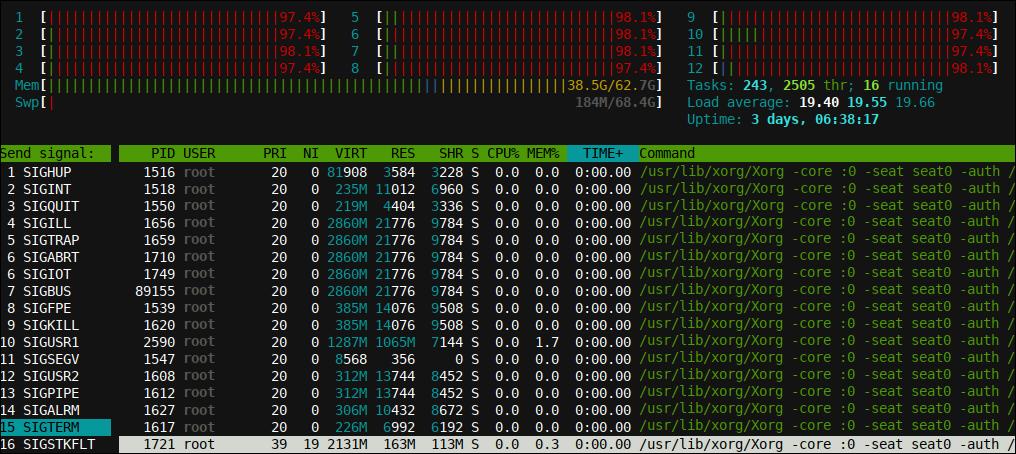 htop displaying possible program signals