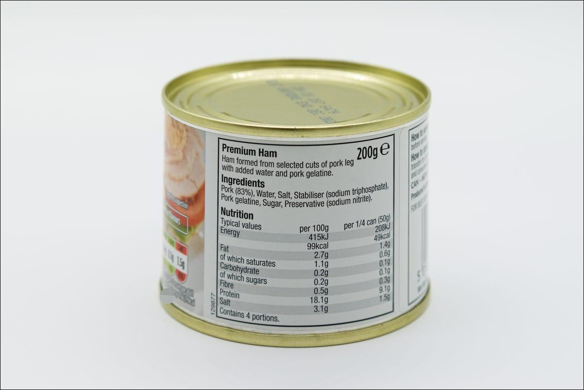ingredients label