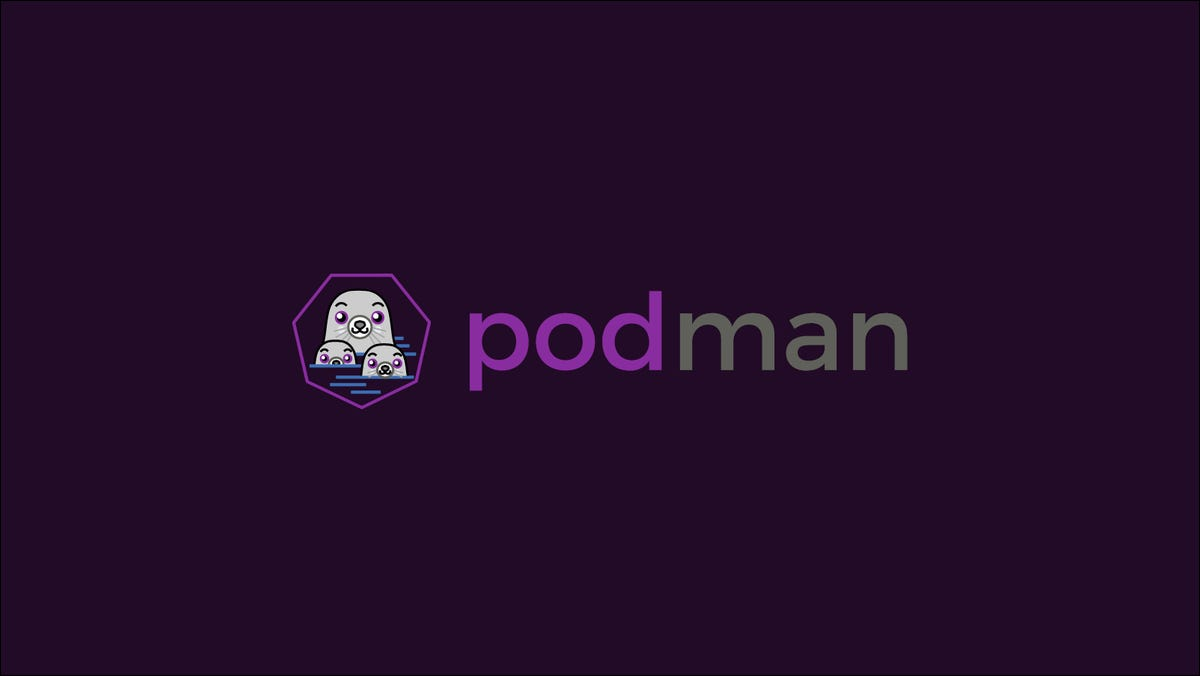 Graphic showing the Podman logo