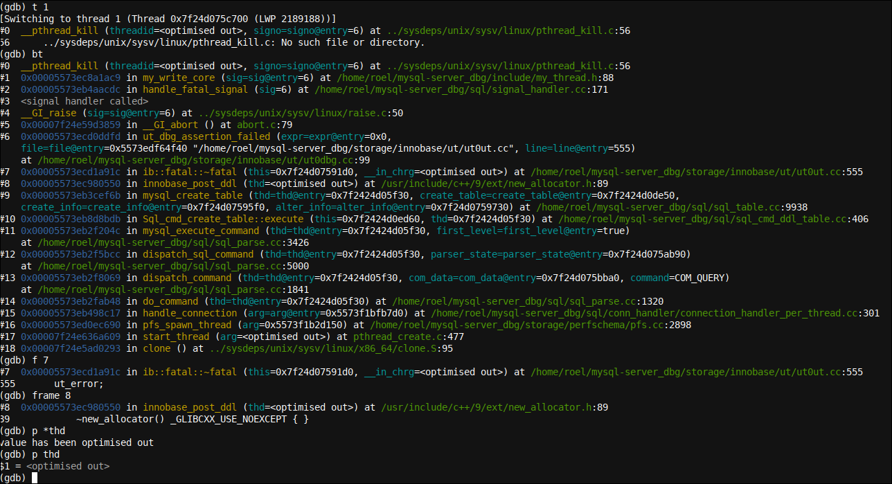 Accessing a frame in GDB and insights into printing variables at the GDB command line