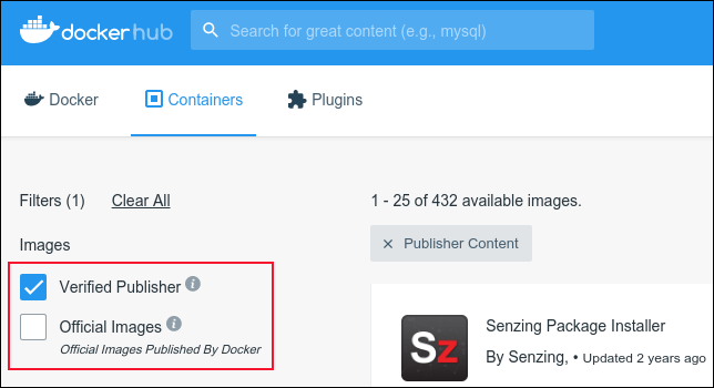 Verified Publishers and Official Images checkboxes on Docker Hub