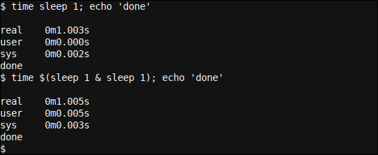 Running two sleep threads in parallel, with one in the background, using a subshell