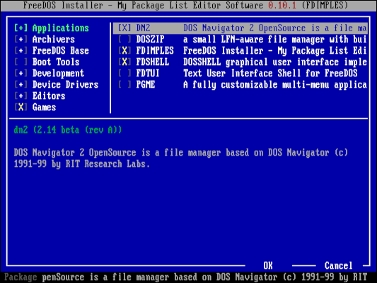 Installing FreeDOS programs with FDIMPLES