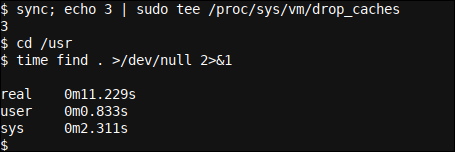Clearing the inode (and other) Linux caches and re-executing our find command in /usr