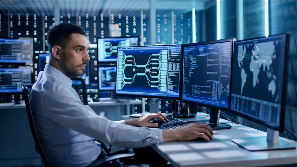 security specialist working in control center