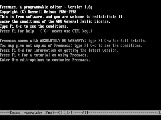 Freemacs programmer's editor on FreeDOS