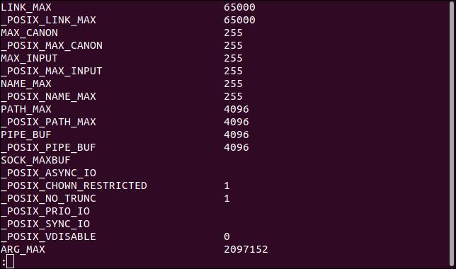 Вывод команды getconv -a в программе просмотра файлов less