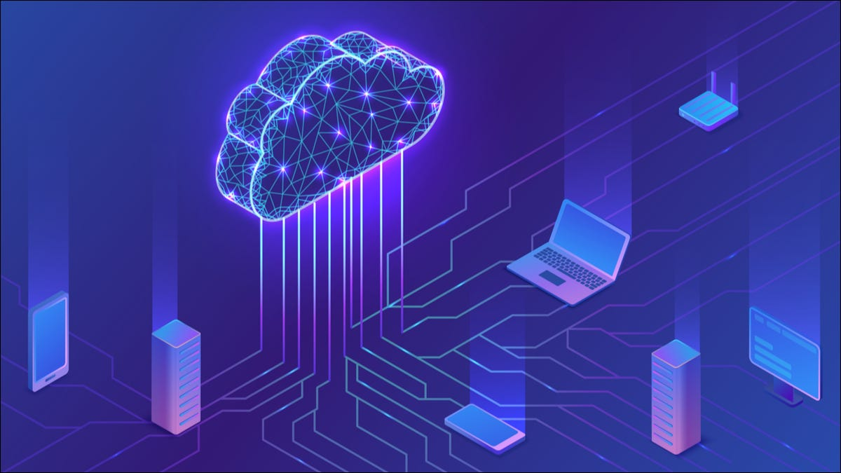 Illustration showing a stylised cloud icon with various devices connecting to it