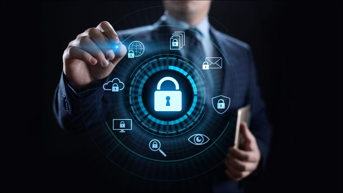 Illustration of a security padlock icon in front of a suited person