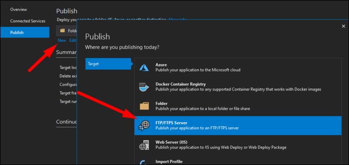 Seleziona Server FTPS, anche se puoi pubblicare in Azure, Docker, una cartella locale o la distribuzione Web IIS se questi funzionano meglio per te.