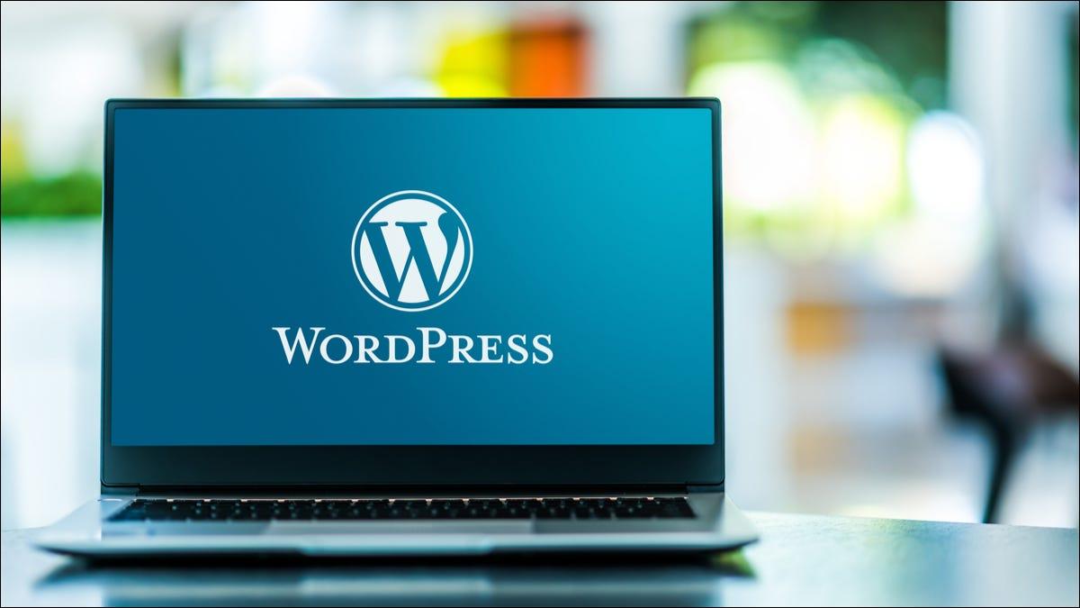 Photo of the WordPress logo on a laptop screen