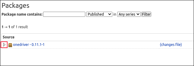 The onedriver package download page with the arrow icon highlighted