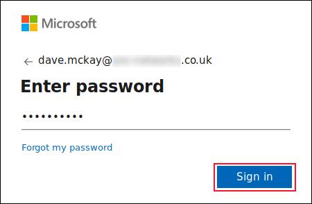 Entering the OneDrive account password in the password screen