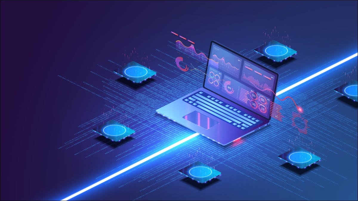 Colourful illustration of a laptop surrounded by disk drives and light beams