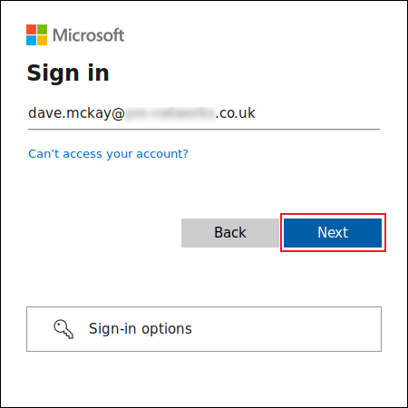 Entering the OneDrive account name in the sign in screen