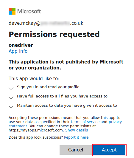 onedriver permissions screen with the accept button highlghited