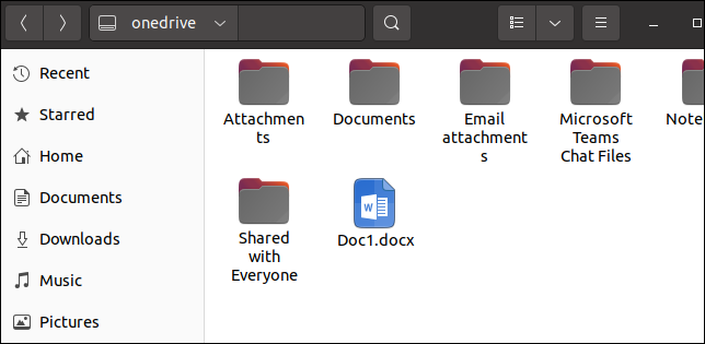 OneDrive files in the Linux file browser
