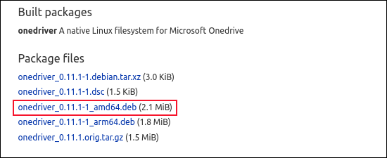 List of onedrive package files, with the ARM architecture option highlighted
