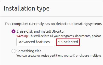 """Notificação """"ZFS selecionado"""" na tela de tipo de instalação"""