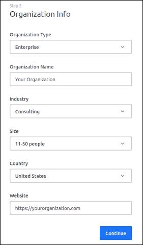 New user organization screen