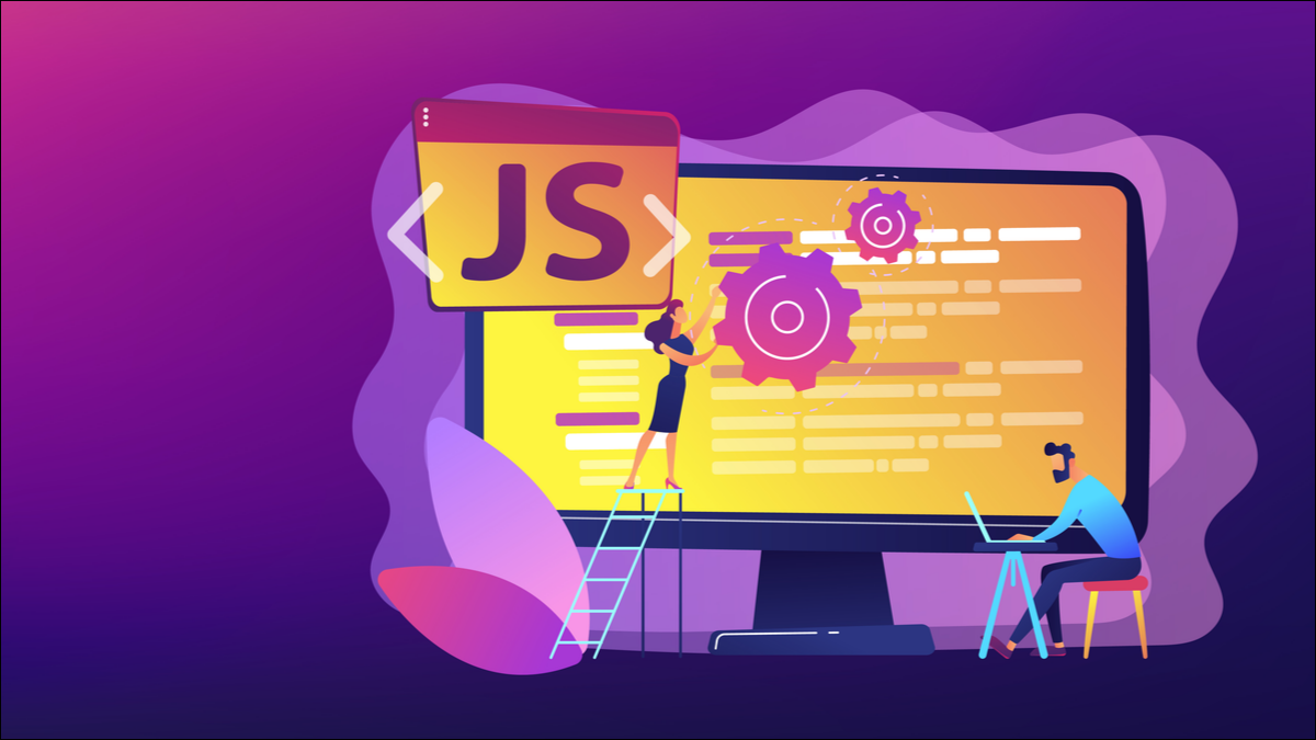 Illustration of a computer monitor showing a JavaScript symbol