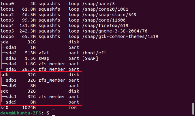 Status dos novos discos rígidos no pool ZFS
