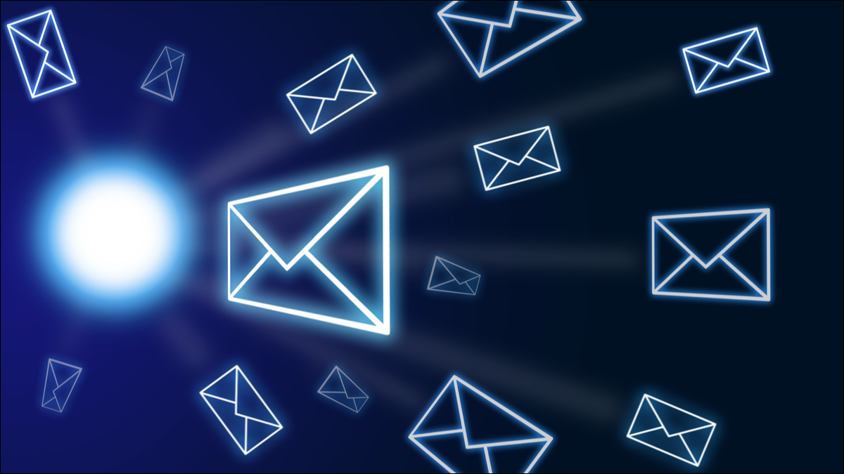 Illustration showing email symbols moving out from a light source