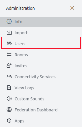 Administrative options in the side panel