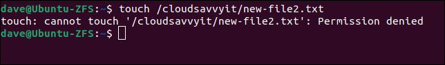 O usuário não pode criar arquivos fora de sua área de armazenamento de dados alocada