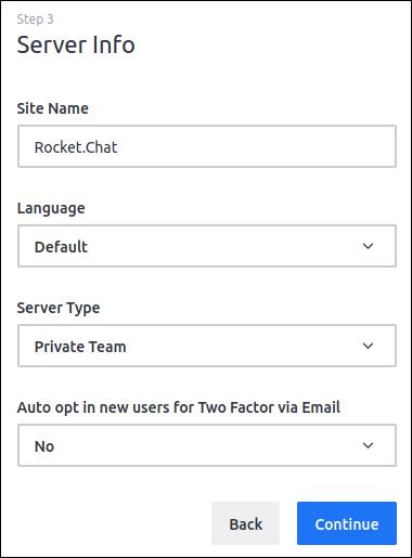 Rocket.Chat Server details screen