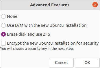 Opções de ZFS na caixa de diálogo Recursos avançados