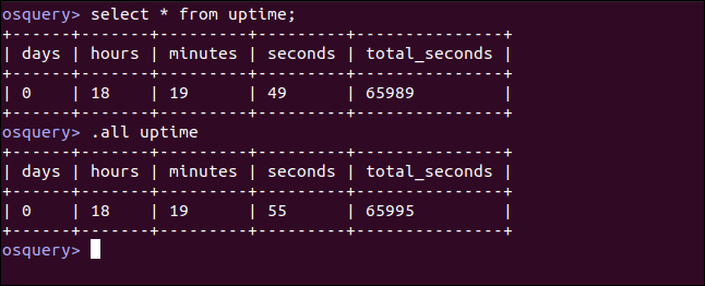 select * from uptime; in an osquery interactive session