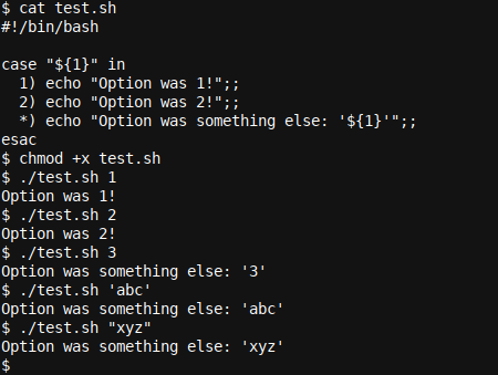 A simple case .. esac statement in Bash