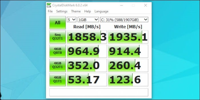 Disk speed benchmark