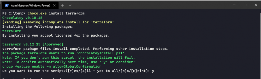 Installing Terraform using choco.